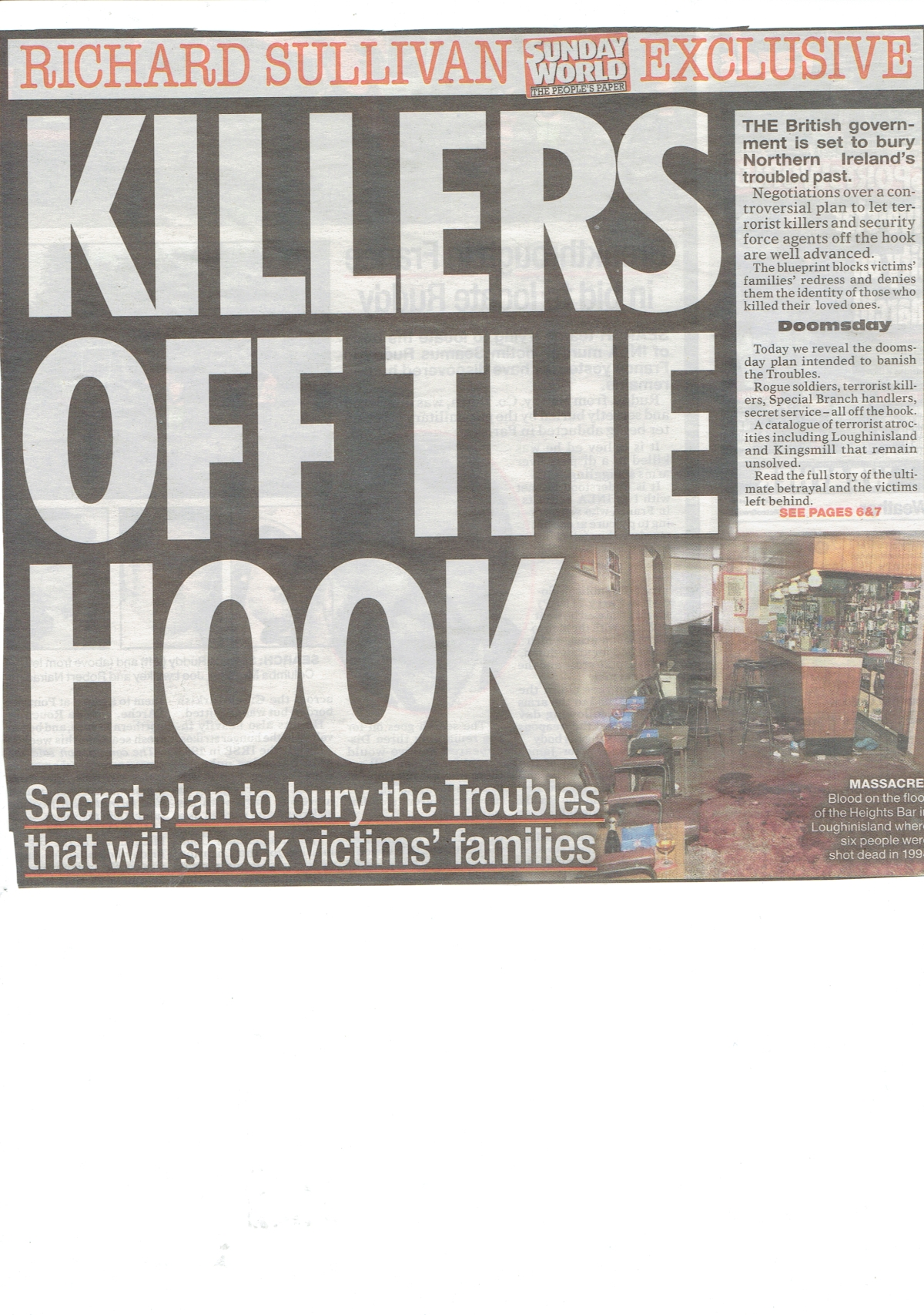 This was headline news yesterday in the Sunday World – I just hope & pray that it's bullshit.