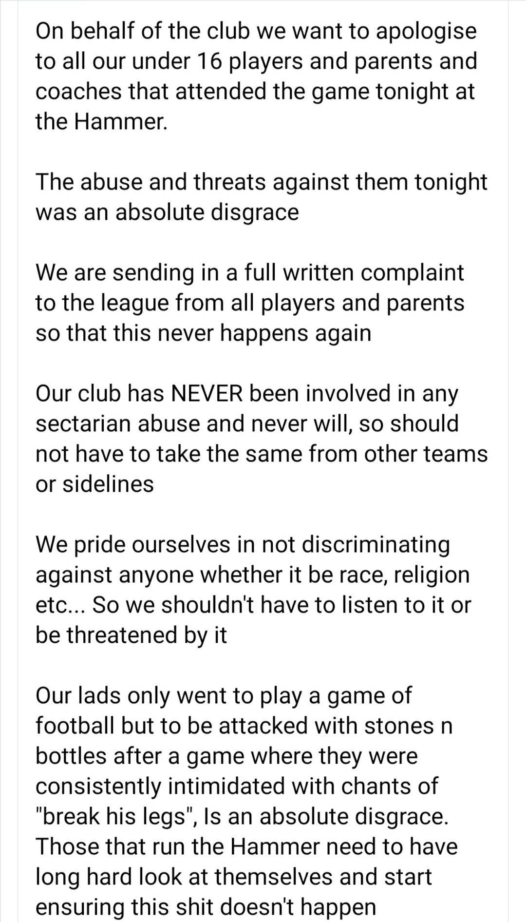 More Loyalist/Unionist sectarian abuse at Catholic children 'Under 16' trying to enjoy a game of non-sectarianfootball